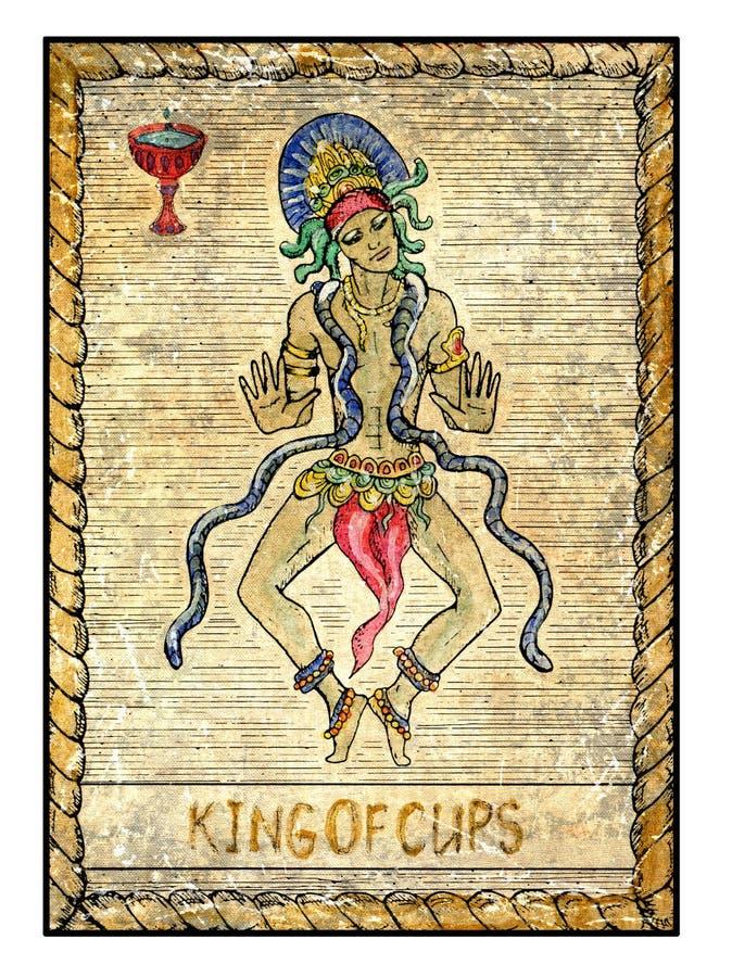 Stare tarot karty Pełny pokład Królewiątko filiżanki royalty ilustracja