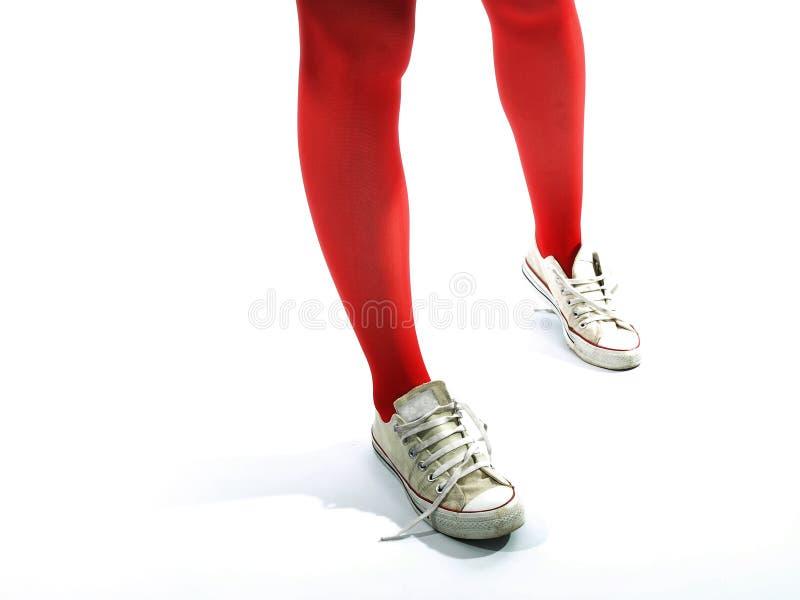 stare trampki dziewczyn nóg czerwone rajtuzy młodych obraz stock