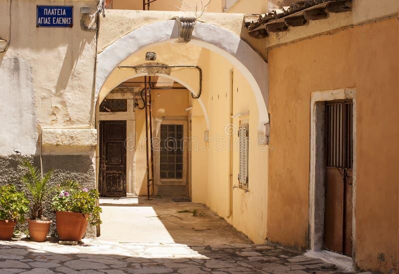Stare ulicy, Corfu miasteczko obrazy royalty free