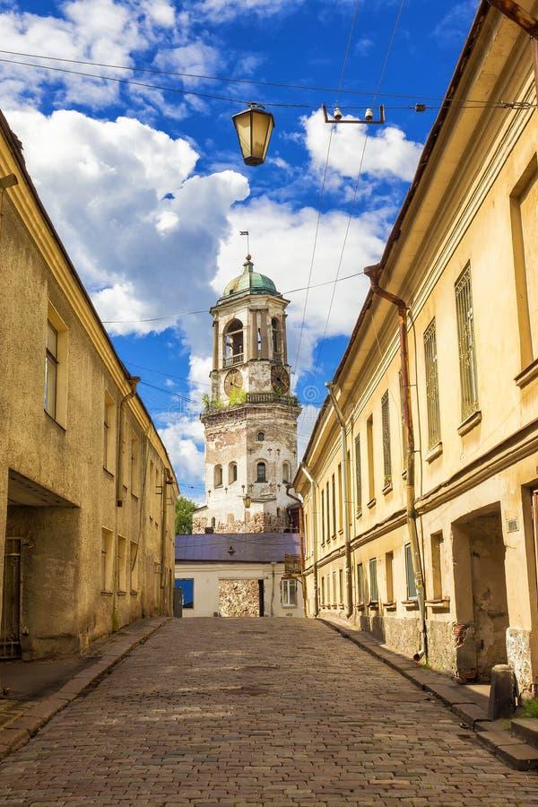 Stare ulicy Vyborg, Rosja obraz stock