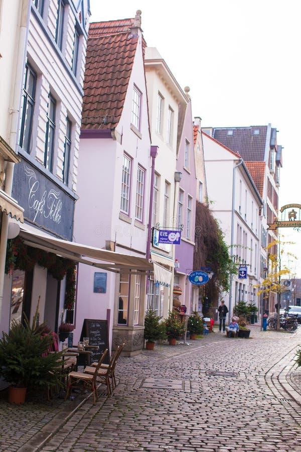 Stare ulicy w mieście Bremen, Niemcy obrazy royalty free