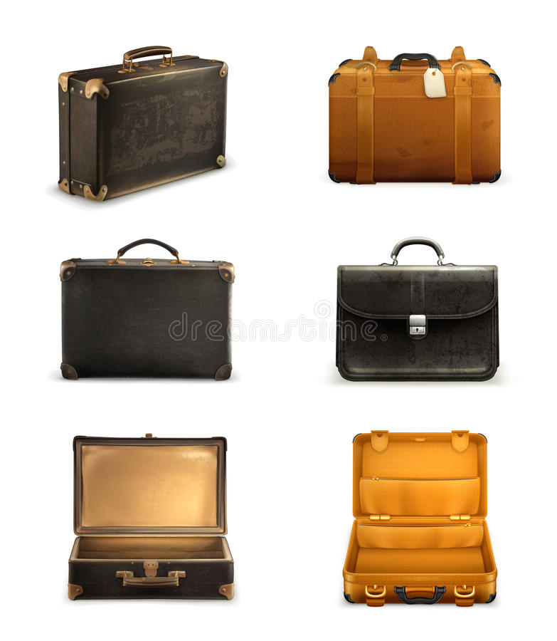 Stare walizka wektoru ikony royalty ilustracja