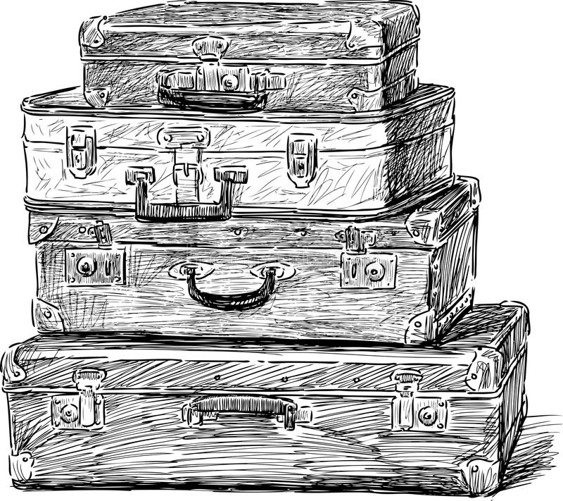 stare walizki ilustracja wektor