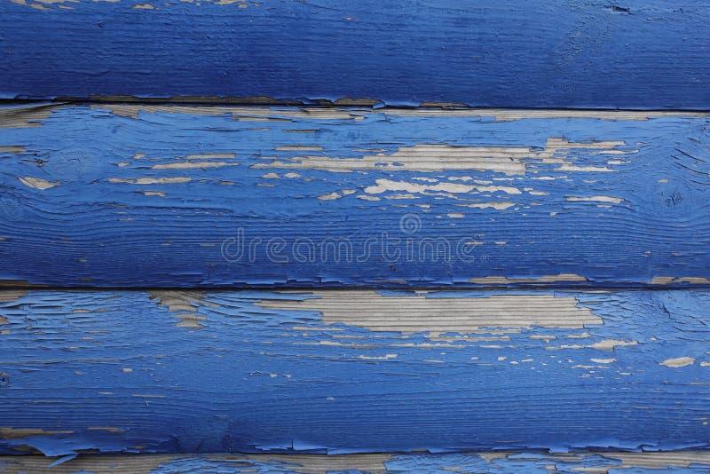 Stare zaokrąglone deski z błękitną obieranie farbą Abstrakcjonistyczny projektanta tło obrazy stock