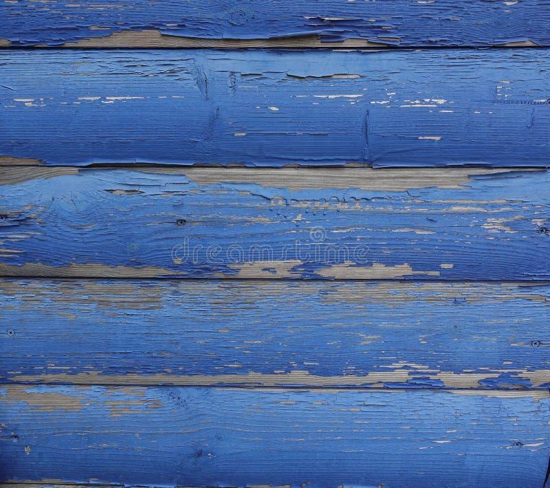 Stare zaokrąglone deski z błękitną obieranie farbą Abstrakcjonistyczny projektanta tło zdjęcia royalty free