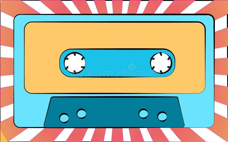 Starego błękitnego retro rocznika antykwarskiego modnisia muzyczna audio kaseta dla taśma pisaka na tle promienie ilustracji