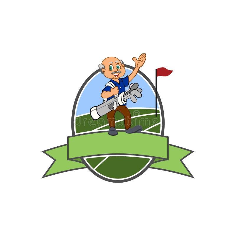 Starego Człowieka golfisty klub owal - Golfowy logo - royalty ilustracja