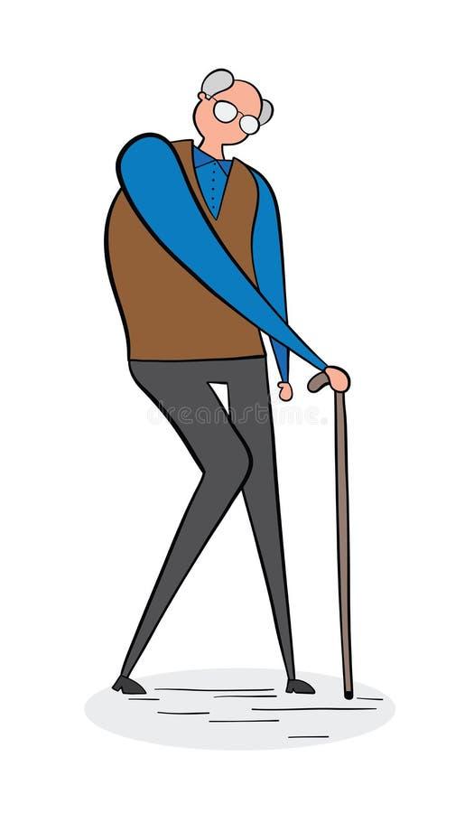 Starego człowieka odprowadzenie z jego chodzącym kijem, pociągany ręcznie wektorowa ilustracja Czerń kolor i kontury ilustracja wektor