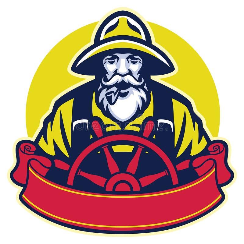 Starego człowieka rybak steruje łódź ilustracja wektor