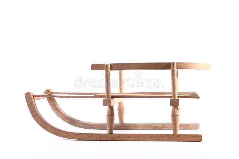 Starego drewnianego pełnozamachowego rocznika sania sporta zimy drewniani boże narodzenia odizolowywający zdjęcia royalty free