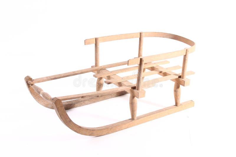 Starego drewnianego pełnozamachowego rocznika sania sporta zimy drewniani boże narodzenia odizolowywający fotografia stock