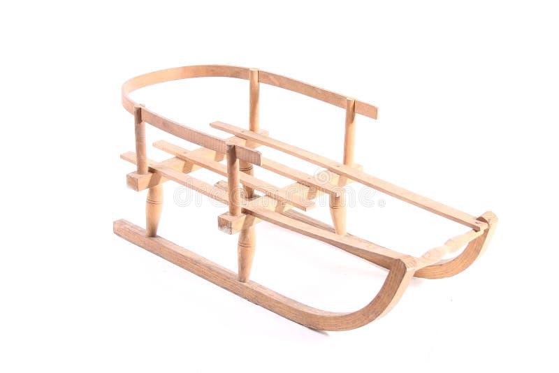 Starego drewnianego pełnozamachowego rocznika sania sporta zimy drewniani boże narodzenia odizolowywający fotografia royalty free