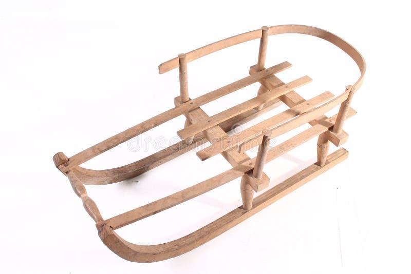 Starego drewnianego pełnozamachowego rocznika sania sporta zimy drewniani boże narodzenia odizolowywający zdjęcie stock