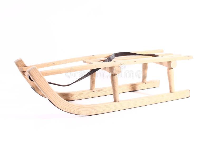 Starego drewnianego pełnozamachowego rocznika sania sporta zimy drewniani boże narodzenia odizolowywający obrazy royalty free