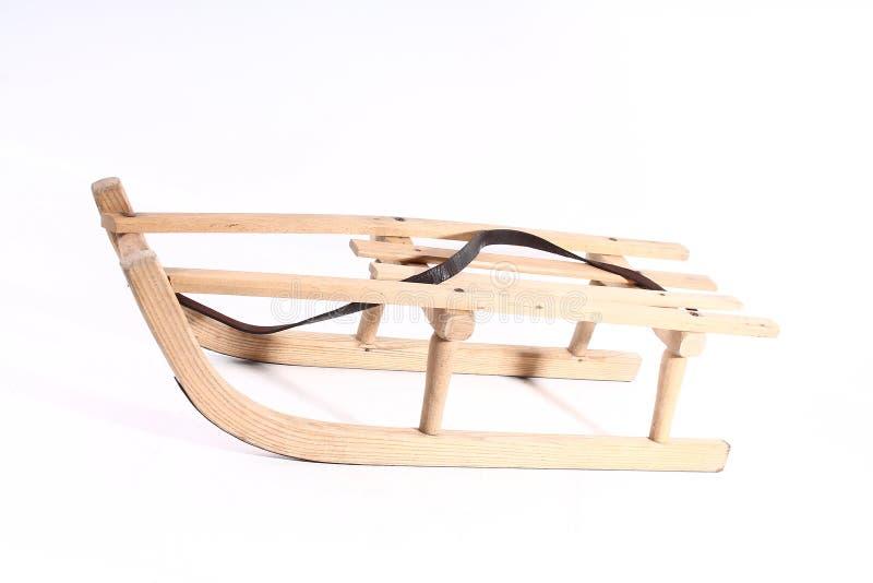 Starego drewnianego pełnozamachowego rocznika sania sporta zimy drewniani boże narodzenia odizolowywający obraz stock