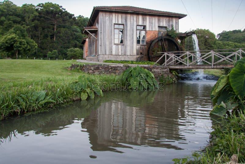 Starego kraju Drewniany dom Bento Goncalves fotografia royalty free