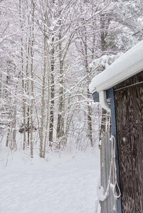 Starego kraju jata w zimy śnieżnej burzy zdjęcia royalty free