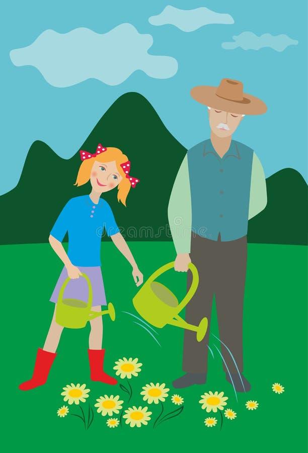 Starego mężczyzna i dziewczyny podlewania kwiaty royalty ilustracja