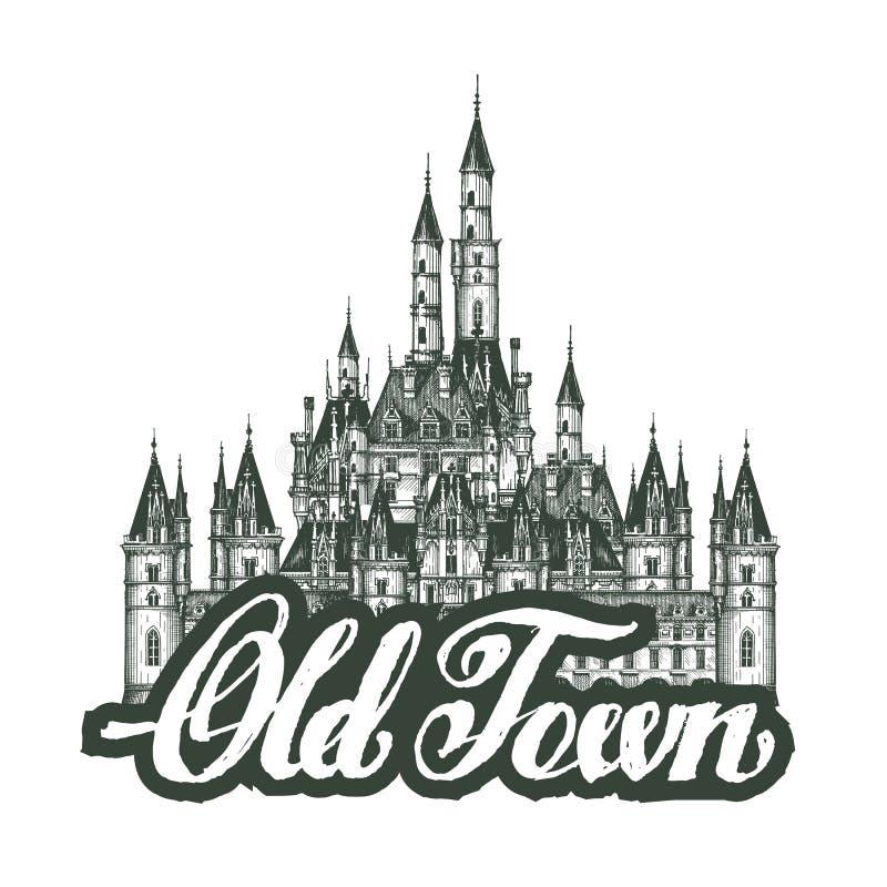 starego miasta Kreskówki ręki rysunku domy ilustracji
