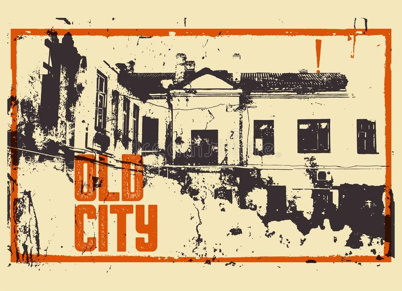 Starego miasto typograficznego rocznika plakatowy projekt Starego domowego grunge tekstury porysowany tło ilustracja retro royalty ilustracja
