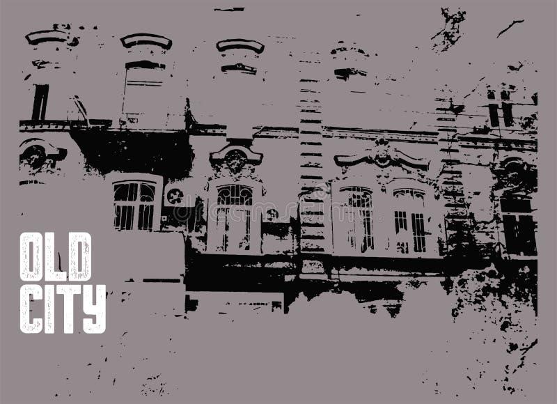 Starego miasto typograficznego rocznika plakatowy projekt Starego domowego grunge tekstury porysowany tło ilustracja retro ilustracja wektor