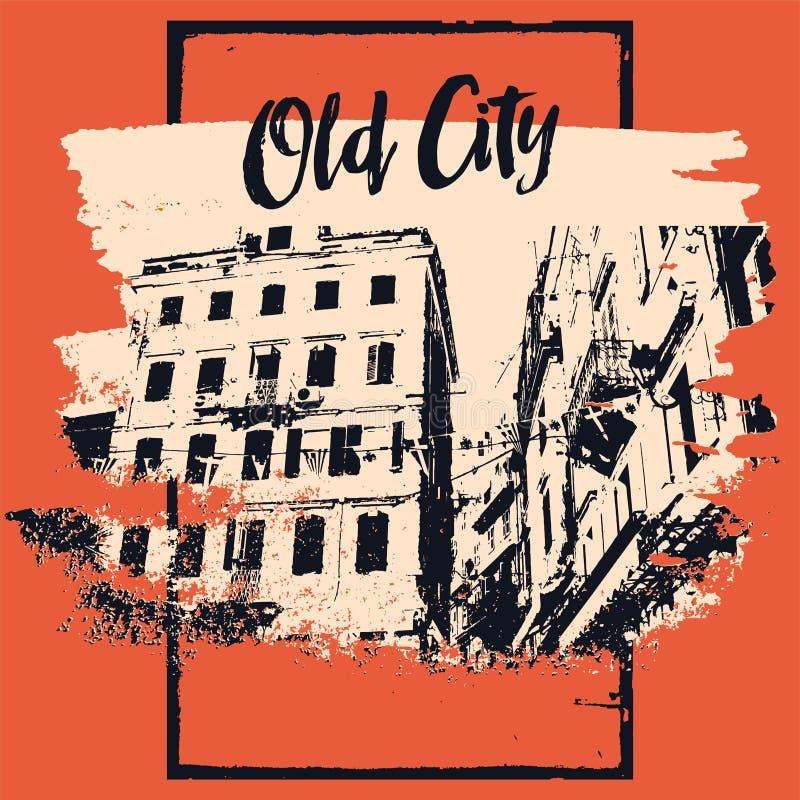 Starego miasto typograficznego rocznika plakatowy projekt Starego domowego grunge tekstury porysowany tło retro ilustracyjny wekt ilustracja wektor