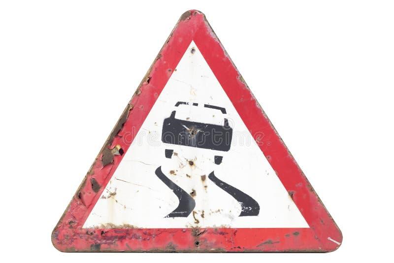 Starego ośniedziałego drogowego znaka ` Śliski drogowy ` odizolowywający na bielu ilustracja wektor