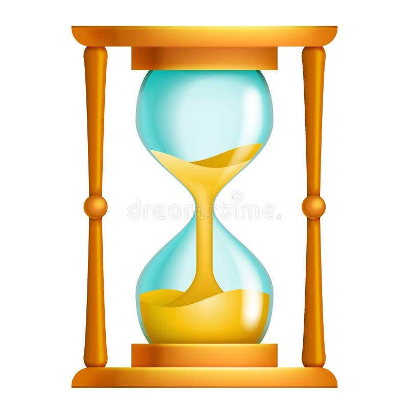Starego piaska hourglass przepływu czasu przecieku zegaru pojęcia 3d działający projekt odizolowywał ikona wektoru ilustrację ilustracja wektor