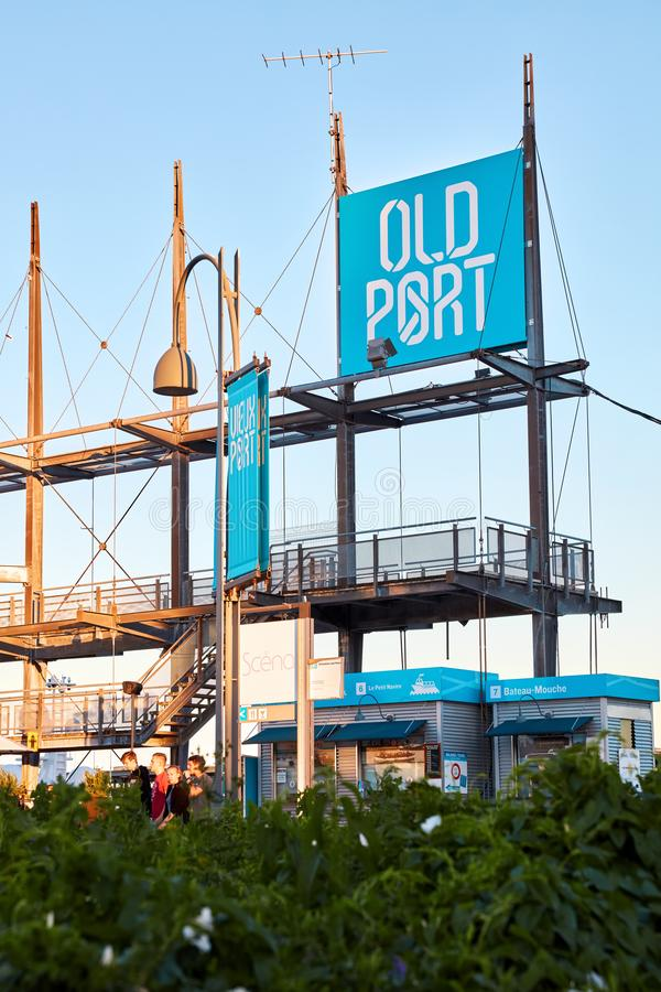 Starego portu signboard w śródmieściu, Montreal, Quebec, Kanada zdjęcia royalty free