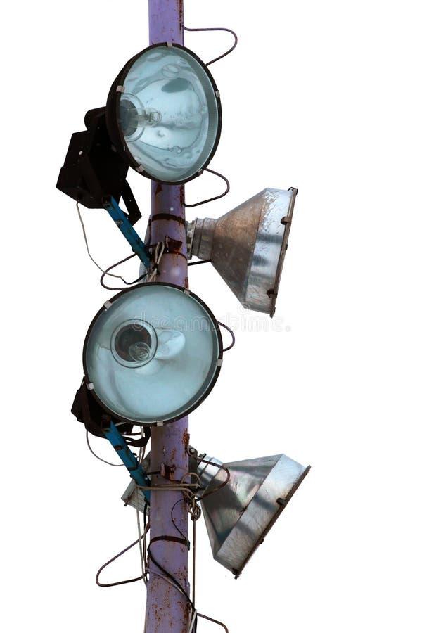 Starego punktu lekcy projektory na metalu słupie fotografia stock