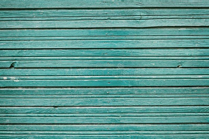 Starego rocznika drewniane deski z błękitnym kolorem malują, wieśniaka ścienny drewno dla tła obrazy royalty free