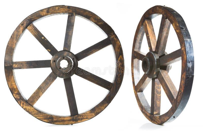 Starego rocznika drewniany koło na bielu obraz royalty free