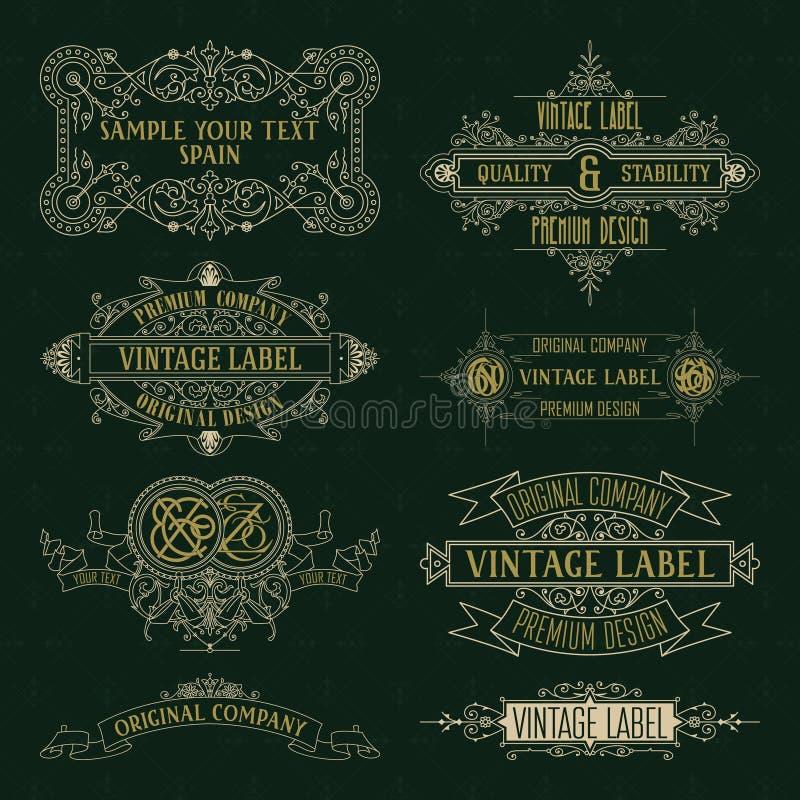 Starego rocznika kwieciści elementy - faborki, monogramy, paskują, wykładają, kąty, granica, rama, etykietka, logo ilustracji