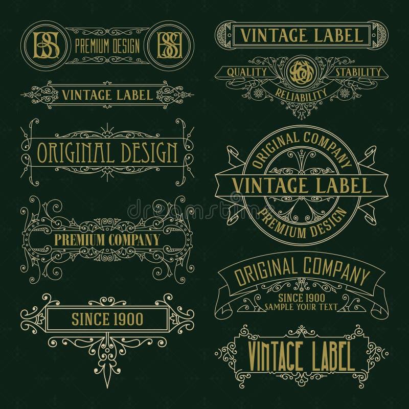 Starego rocznika kwieciści elementy - faborki, monogramy, paskują, wykładają, kąty, granica, rama, etykietka, logo royalty ilustracja