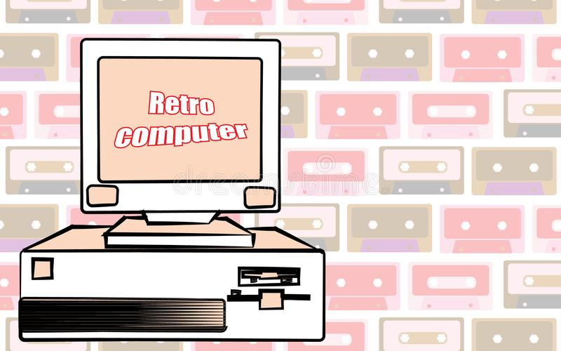 Starego rocznika modnisia retro komputer stacjonarny i retro komputerowa inskrypcja od 70 s `, 80 s `, 90 s ` również zwrócić cor royalty ilustracja