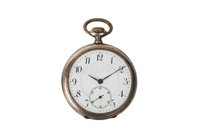 Starego rocznika round kieszeniowy zegarek odizolowywający na bielu obrazy royalty free