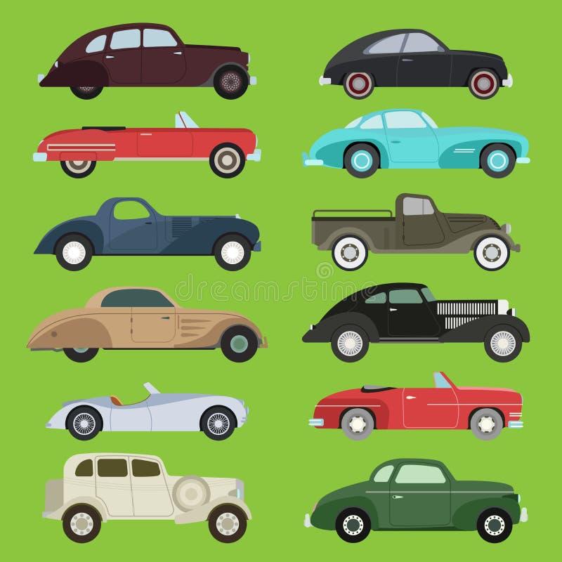 Starego rocznika starego stylu pojazdu samochodu sporta transportu retro wektorowego samochodowego wyłącznego antykwarskiego gara ilustracja wektor