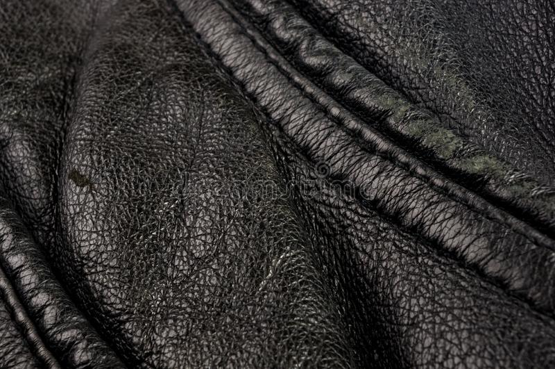 Starego rocznika tekstury prawdziwy mi?kki czarny rzemienny t?o, odg?rna warstwa z pores i narysy, makro-, w g?r? obrazy stock