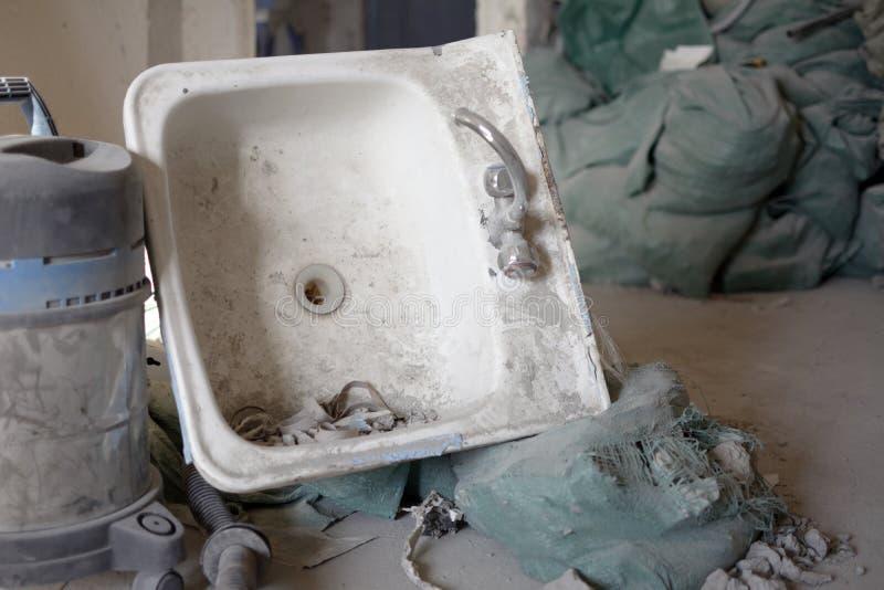 Starego sinkwith próżniowy czysty fotografia stock