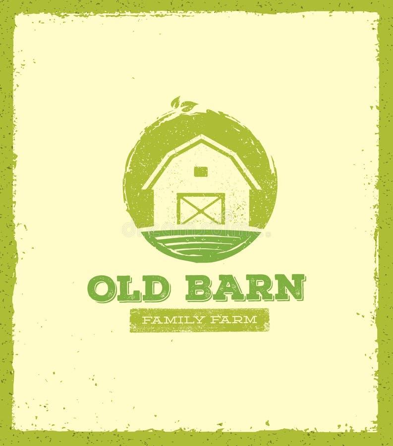 Starego stajnia miejscowego gospodarstwa rolnego Kreatywnie Szyldowy pojęcie Żywności Organicznej Eco Świeżej Zdrowej zieleni szt ilustracja wektor
