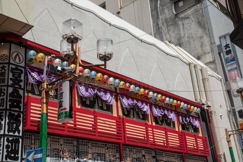 Starego stylu restauracja na drugim piętrze, Osaka, Japonia zdjęcia royalty free