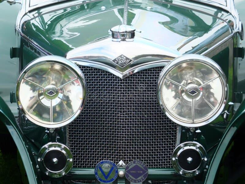 Starego zielonego Riley rocznika brytyjski motorcar zdjęcie stock