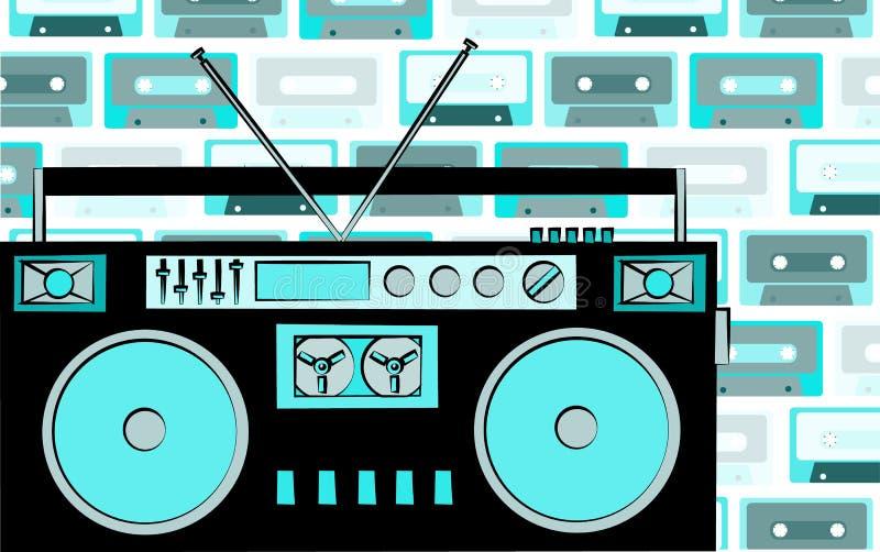 Starej błękitnej retro rocznika modnisia antykwarskiej przestarzałej kasety taśmy dźwiękowa muzyczny pisak na tle błękitne muzycz royalty ilustracja