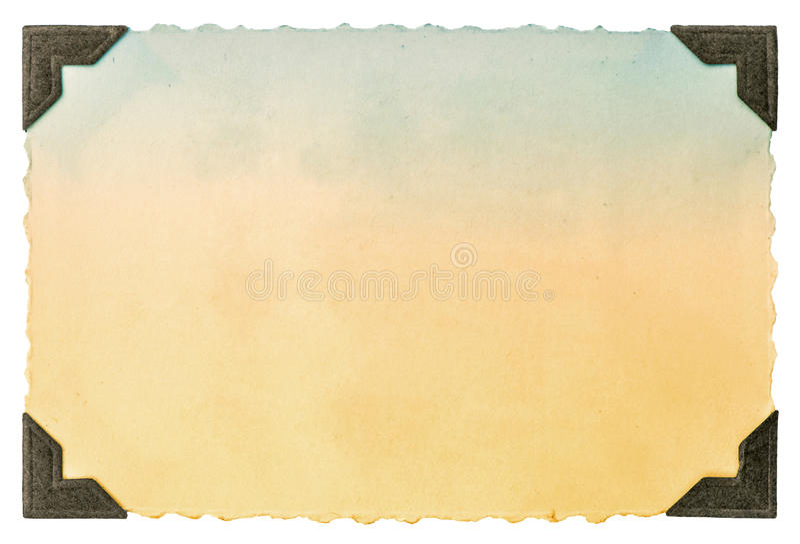 Starej fotografii papierowa karta z kąta i krawędzi rocznikiem zdjęcie stock