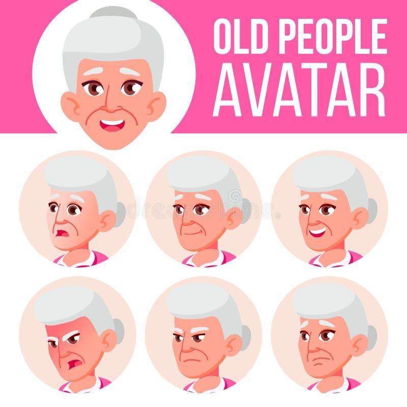 Starej Kobiety Avatar Ustalony wektor Stawia czoło Emocje Starszy osoba portret Starsi ludzi aged Głowa, ikona Szczęście royalty ilustracja