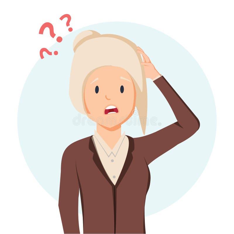 Starej kobiety cierpienie od pami?ci straty Zmieszana osoba z znak zapytania nad Demencja, Alzheimer choroby objaw royalty ilustracja