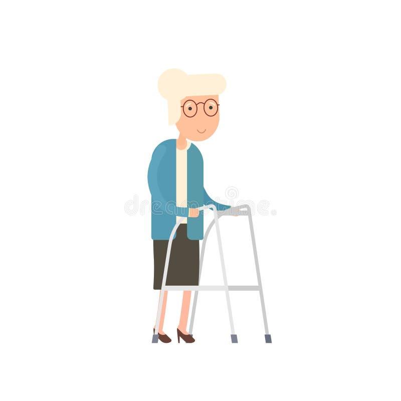 Starej kobiety odprowadzenie z zimmer ramą royalty ilustracja