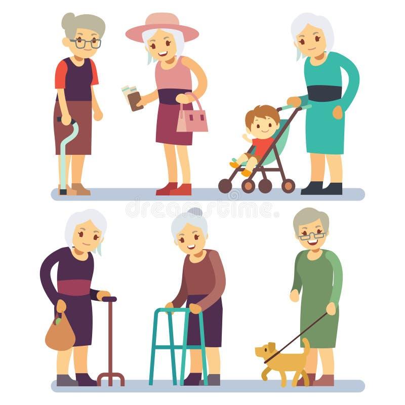Starej kobiety postać z kreskówki - set Starsze damy w różnej sytuaci royalty ilustracja