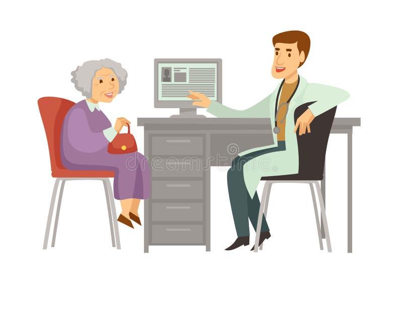Starej kobiety wizyty cierpliwej lekarki kreskówki wektorowa ikona ilustracji