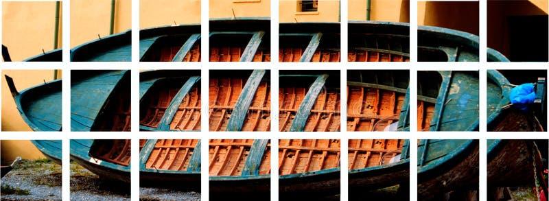 Starej kolorowej łodzi rybackiej zaniechana mozaika fotografia royalty free